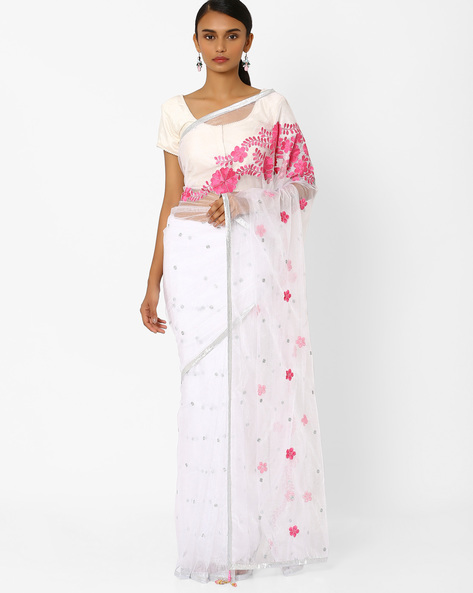 Net Designer Saree With Floral Embroidery By RCPC ( White )