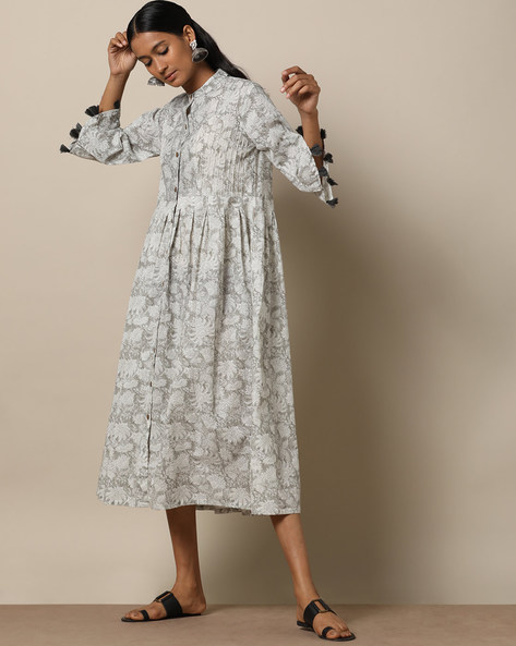 Printed Cotton Pleated Long Dress With Pintucks By Seasons ( Grey )