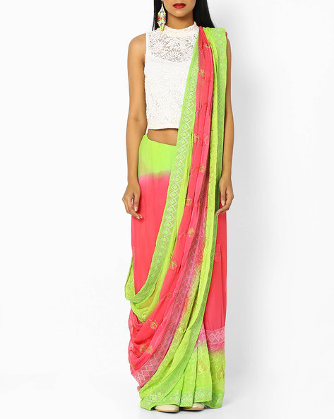 Tie & Dye Chiffon Saree With Embroidery By Ishaya ( Pink )