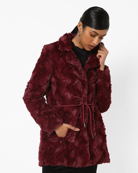 Chevron Fleece Jacket With Pockets By Vero Moda ( Brwnpink )