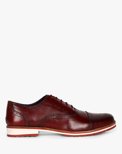 Genuine Leather Semi Brogues By Hats Off Accessories ( Burgundy )