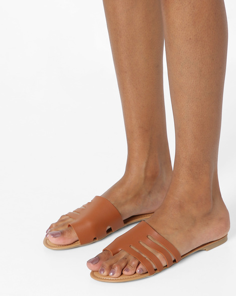 Toe-Ring Flat Sandals With Cut-Outs By AJIO ( Tan )