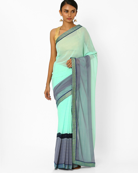 Striped Saree With Contrast Border By Akoya ( Lightgreen )