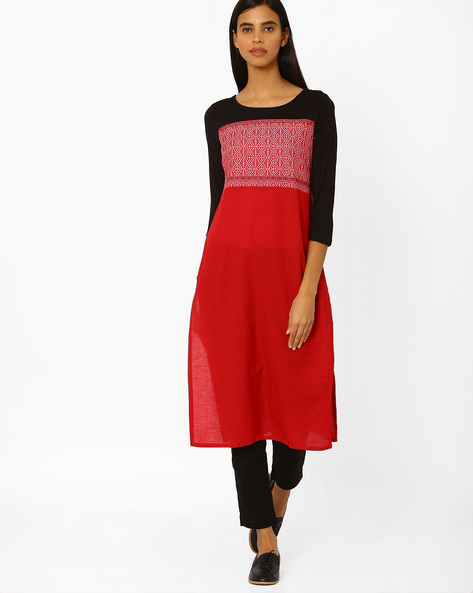 Colourblock Kurta With Embroidery By AURELIA ( Red )