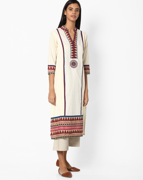 Cotton Straight Kurta With Mandarin Collar By Jiyaa ( Offwhite ) - 460049625002