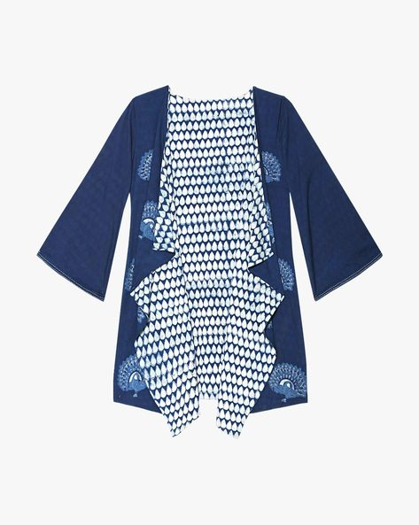Handblock Print Indigo Cotton Reversible Jacket By Indie Picks ( Indigo )