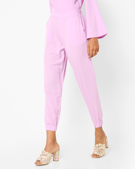 Cuffed Trousers With Elasticated Waist By AJIO ( Lilac )