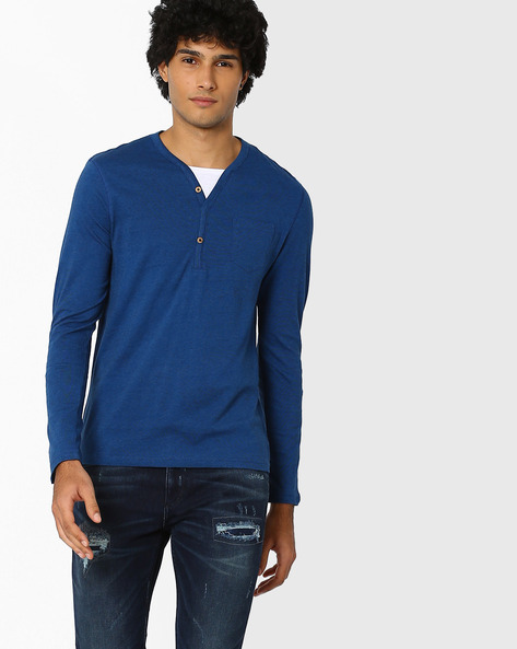 Henley T-shirt With Patch Pocket By Celio ( Lightblue )