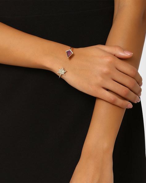 Cuff Bracelet With Stones By AJIO ( Purplegold )