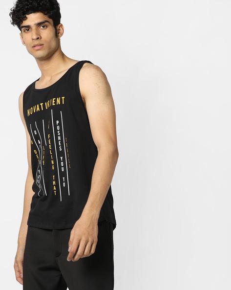 Typographic Print Fashion Vest By AJIO ( Black )