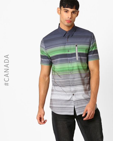 Striped Slim Shirt With Patch Pocket By Point Zero ( Lime )