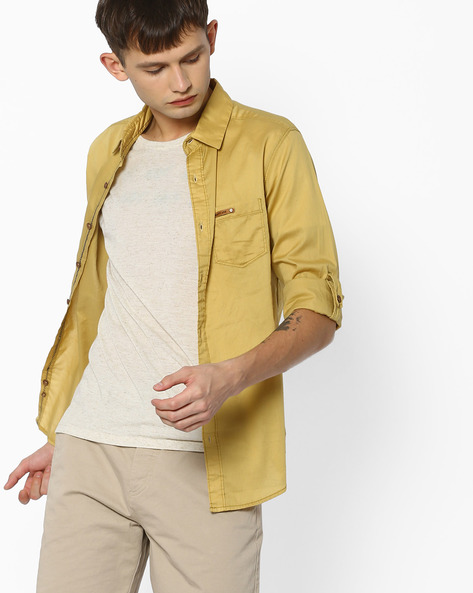 Slim Fit Shirt With Roll-Up Tabs By MUFTI ( Khaki )