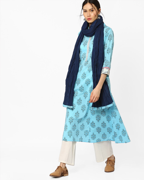 Printed A-Line Kurta With Embroidery By AJIO ( Blue )