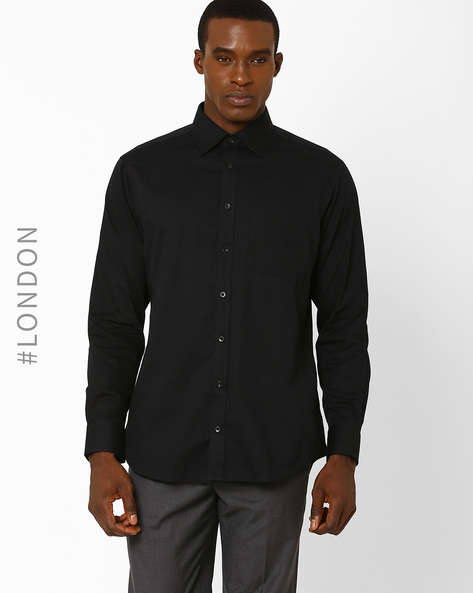 Performance Pure Cotton Non-Iron Dobby Shirt By Marks & Spencer ( Black )