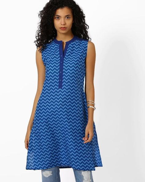 Printed Kurta With Mandarin Collar By AJIO ( Navyblue )