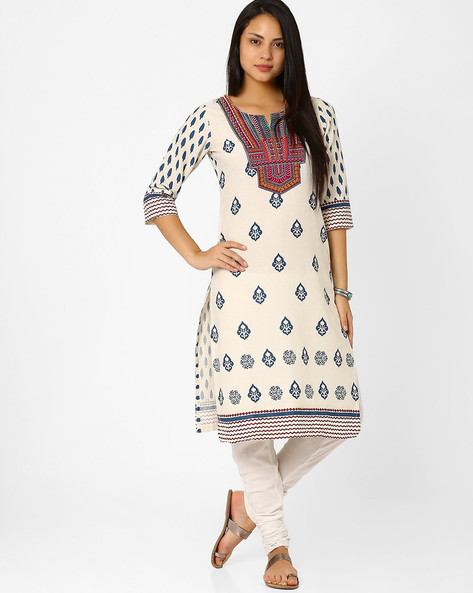 Printed Kurta With Embroidered Yoke By Rangriti ( Beige ) - 440704478001