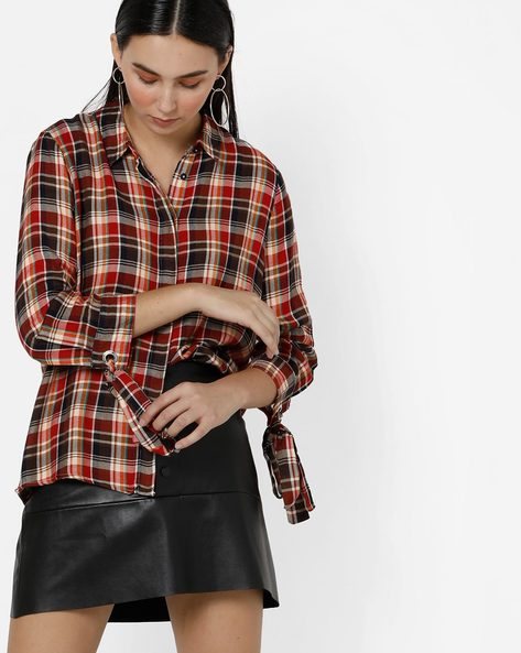 Checked Shirt With Tie-Up Sleeves By Only ( Red )
