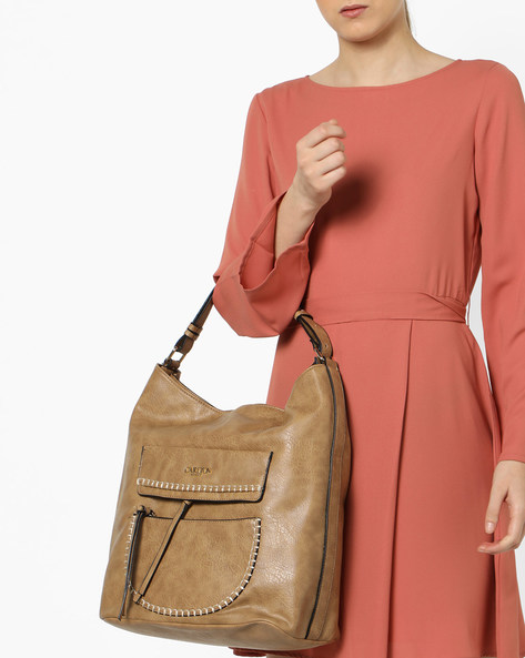 Textured Shoulder Bag By Carlton London ( Tan )