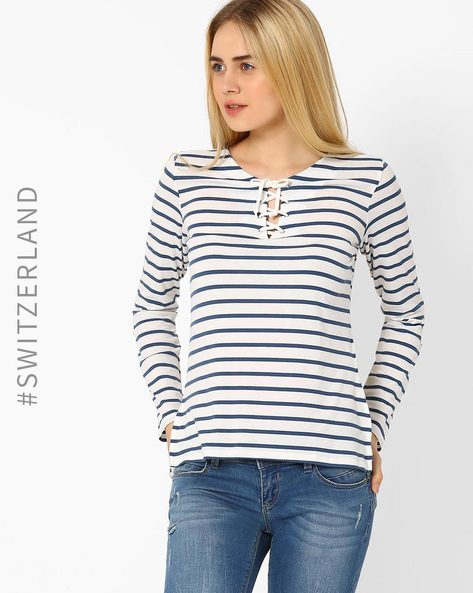 Striped Lace-Up Top By TALLY WEiJL ( Offwhite )