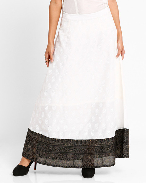 Block Print Maxi Skirt By AJIO ( White )