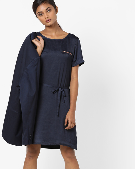Shift Dress With Waist Tie-Up By Vero Moda ( Mediumblue )