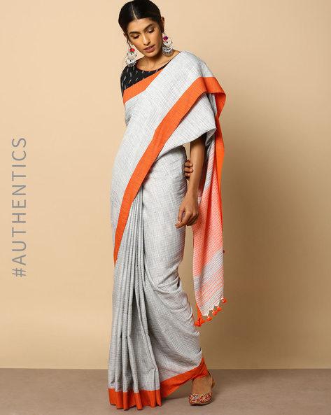 Handloom Bengal Cotton Herringbone Saree With Tassels By Indie Picks ( Grey )