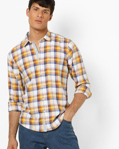 Checked Shirt With Spread Collar By Pepe Jeans ( Yellow )