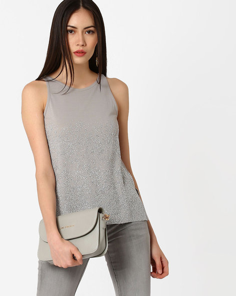 Embellished Sleeveless Top By CODE By Lifestyle ( Grey )