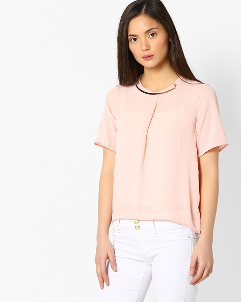 Pleat-Front Top With Detachable Necklace By FIG ( Ltpeach )