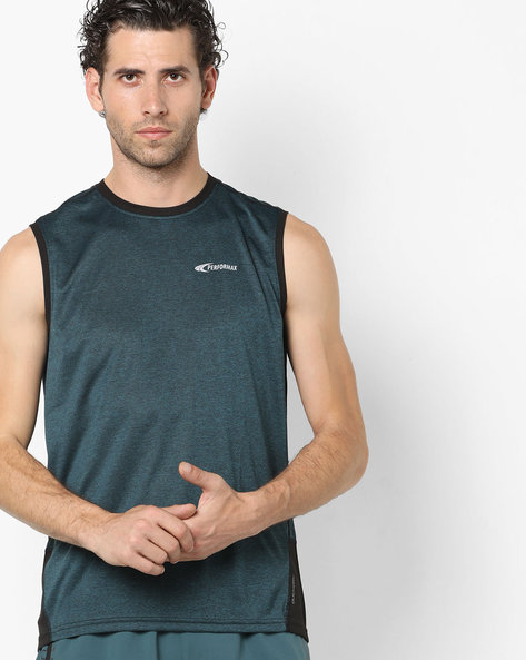 Heathered Sleeveless T-shirt With Contrast Panels By PERFORMAX ( Dkgreen )