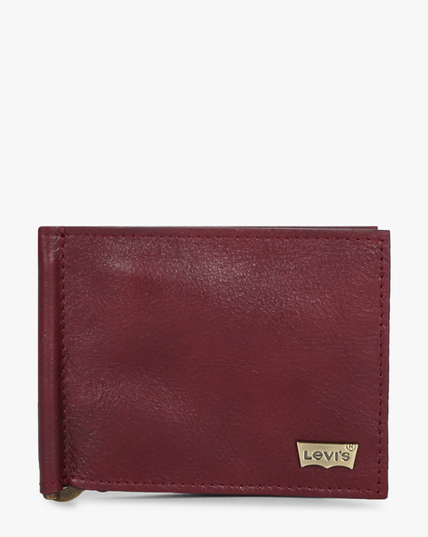 Leather Bi-Fold Wallet With Money Clip By LEVIS ( Maroon )