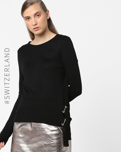 Crew-Neck Pullover With Side Tie-Up By TALLY WEiJL ( Black )