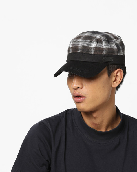 Checked Cap With Contrast Visor By WRANGLER ( Black )