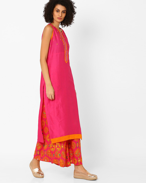 Sleeveless Kurta With Embroidery By Indian Ink ( Pink )