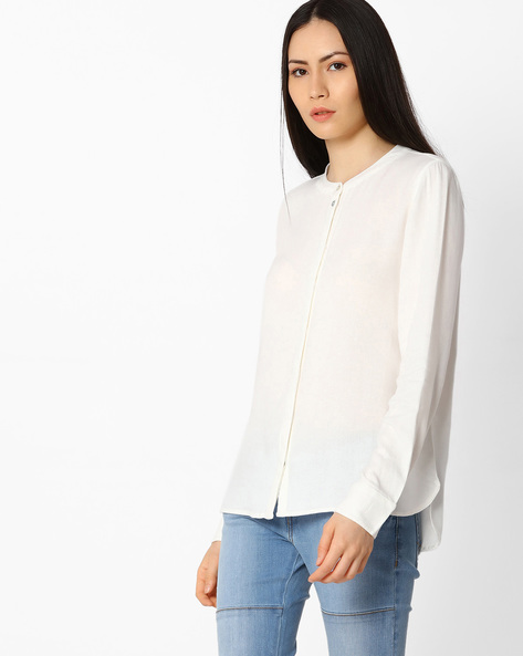 Shirt With Concealed Button Placket By Vero Moda ( White )