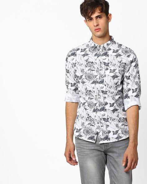 Floral Print Slim Fit Shirt By AJIO ( White )