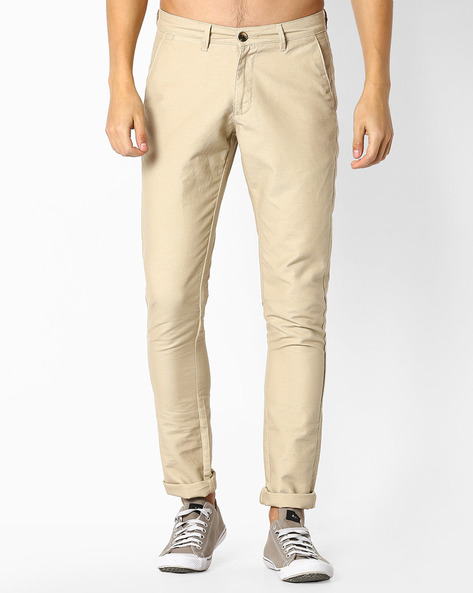 Cotton Flat-Front Chinos By NETPLAY ( Stone )