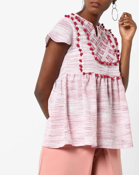 Cotton Top With Embroidered Yoke By Rena Love ( Pink )