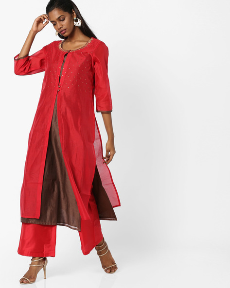 Layered Kurta With Palazzo Pants By AJIO ( Red )
