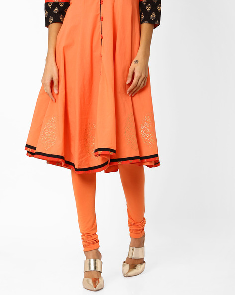 Churidar Leggings With Elasticated Waist By AJIO ( Orange )