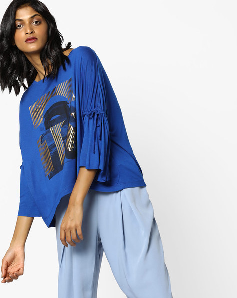 Graphic Print Crop Top With Bell Sleeves By AJIO ( Blue )
