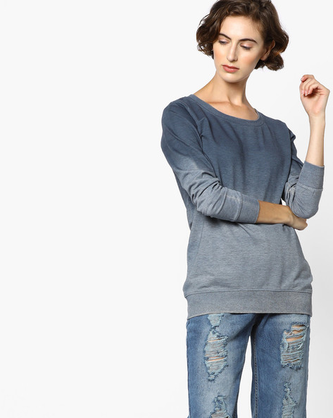 Ombre-Dyed Crew-Neck Sweatshirt By Fame Forever By Lifestyle ( Grey )