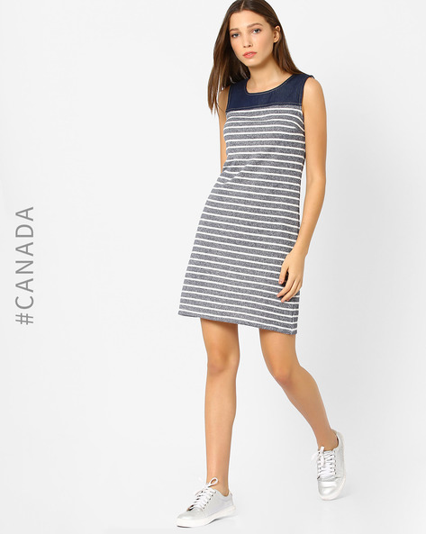 Striped Sleeveless Dress By Point Zero ( Navyblue )