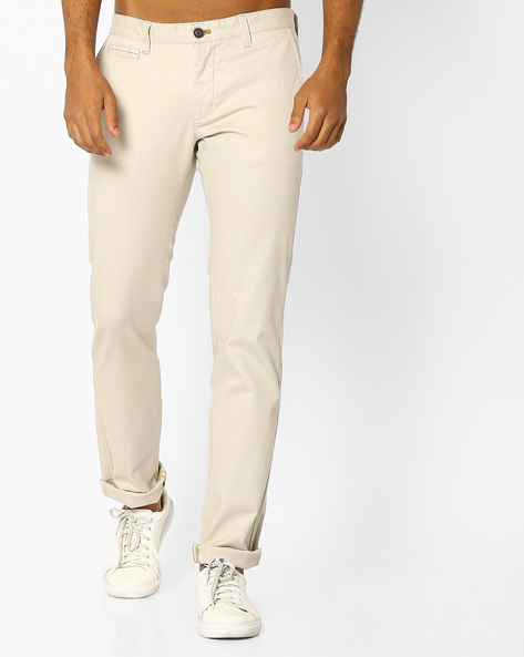 Slim Fit Flat-Front Trousers By INDIAN TERRAIN ( Ivory )