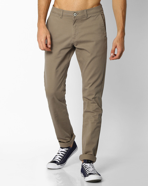 Mid-Rise Tapered Chinos By NETPLAY ( Ltgrey )