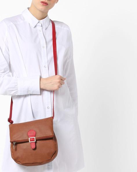 L Pelt Y G Foldover Sling Bag By BAGGIT ( Tan )