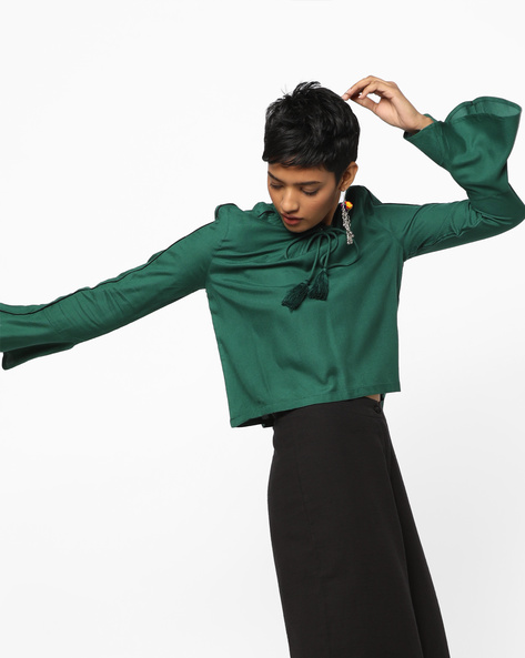 High-Neck Swing Top By AJIO ( Green )