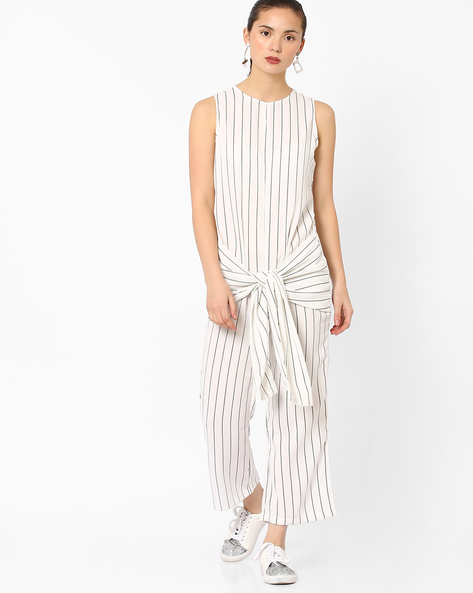 Striped Sleeveless Jumpsuit By Evah London ( White )