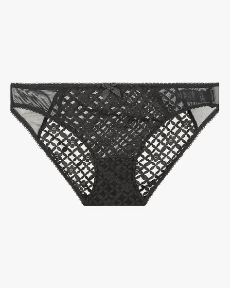 Bikini Panties With Lace Panel By Marks & Spencer ( Black )