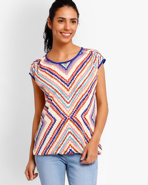 Printed Top By Style Quotient By Noi ( Blue )